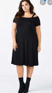 Off Shoulder Fit & Flare Black Dress